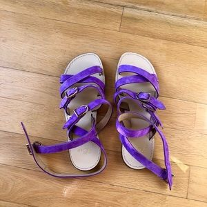 J. Crew deep lavender suede and leather sandals
